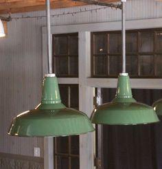 """2 Vintage Industrial Light Fixtures~18"""" Porcelain Enamel Barn~Gas Station Lights"""