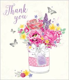 Card Ranges » 7381 » Thank You - Cottage Blooms - Abacus Cards - Greetings Cards, Gift Wrap & Stationery