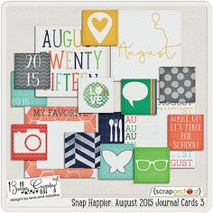 Snap Happier: August 2015 Journal Cards 3 by Bella Gypsy Designs