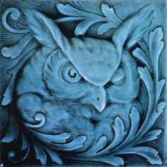 Relief Tile with Translucent Glazes depicting an Owl, American Encaustic Tiling