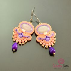 Colorful Soutache Earrings, Peach Soutache Earrings, Dangle Earrings, Violet Earrings, Long Pink Peach Earrings, Violet Soutache Earrings by OzdobyZiemi on Etsy