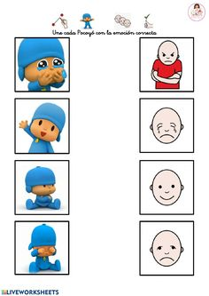 Emotions Preschool, School Subjects, Aspergers, Creative Play, Preschool Worksheets, Matching Games, Your Teacher, Speech Therapy, Colorful Backgrounds