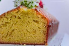 Delicate lemon and sweet woodruff loaf cake with a subtle glaze of sweet woodruff. #waldmeister
