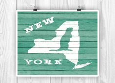 New York State art New York State map NY State by PrintCorner