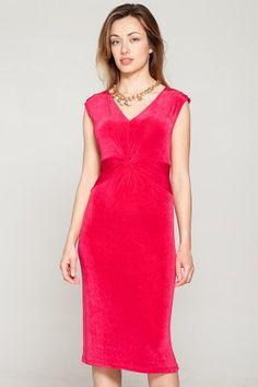 Slinky Sleeveless V-Neck Twist Front Dress - Kim & Co