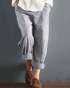 38019e37b04cf Casual Striped Pockets Cotton Linen Pants – lalasgal