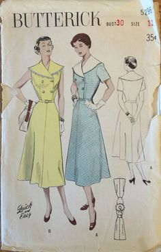 RARE VTG 5296 Butterick 1950 capelet collared by ThePatternParlor