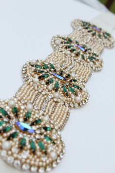 KNR Handmade Emerald Green Gold and Silver Ivory Bridal Sash - Vintage Wedding - One of a Kind Hand Stitched
