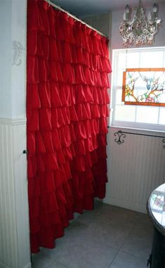 A custom made ruffled shower curtain for one of our customers. She wanted her curtain made in a vibrant red Voile. Red Bathroom Decor, Red Bathroom Accessories, Bathroom Ideas, Bathroom Organization, Ruffle Shower Curtains, Red Curtains, Upstairs Bathrooms, Guest Bedrooms, Decoration