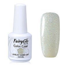 FairyGlo Gelpolish Long-lasting Gel Nail Polish Soak Off UV LED Nail Art Eco-friendly Manicure Lacquer 15ml Glitter White 1400 *** To view further for this item, visit the image link. (Note:Amazon affiliate link)