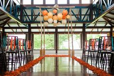 Bamboo canopy with ombre paper lanterns by Weddings Costa Rica