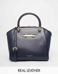 Enlarge Ted Baker Metal Slim Bow Leather Small Tote