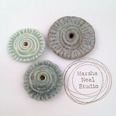 Chocolate Stoneware and Porcelain Rustic Bubble Spiral Discs by Marsha Neal (sold) Chocolate Stoneware and Porcelain Rustic Bubble Spiral Discs