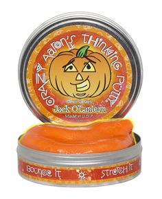 A pumpkin-y orange Thinking Putty color with Halloween gold glitter to make it shine, Jack O'Lantern Thinking Putty has a few surprises in store for you on Halloween night! Shine your blacklight keychain on your Jack O'Lantern and the gold specks will look black. Turn off the lights and your Jack O'Lantern Thinking Putty will glow a speckly yellow.