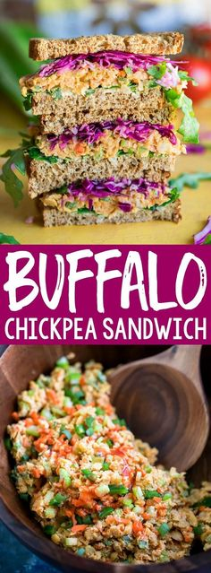 This tasty vegan Buffalo Chickpea Sandwich is ready to step up your sandwich game! This plant-based powerhouse features a zesty mashed chickpea salad and sprouted grain bread! Sliders, and Sandwiches Sandwich Vegan, Chickpea Sandwich, Sandwich Bar, Chickpea Salad, Sandwich Ideas, Healthy Sandwiches, Best Vegetarian Sandwiches, Lunch Sandwiches, Meal Prep