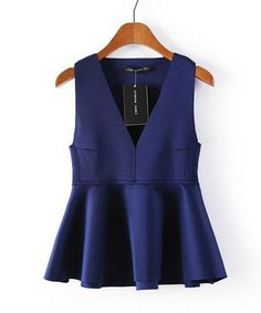 Womens Fitted Sleeveless V Neck Jersey Frill Crop Peplum Tops Blouse Shirt