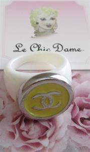 RARE Coco Chanel CC Yellow Silver White Ring Jewelry OOAK one-of-a-kind preppy SUMMER style fashionista haute couture luxury Paris France #Chanel
