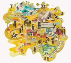 Finnish illustrator Vesa Sammalisto has a distinct style which you may have already seen in here illustration for Helsinki, and the Monocle Finland and Lebanon surveys. Travel Illustration, Pattern Illustration, Graphic Design Illustration, Illustration Styles, Helsinki, Map Design, Book Design, Plans, Map Art