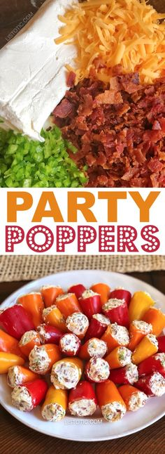 Party Poppers (stuffed mini peppers recipe) | This easy make ahead appetizer for a party is the perfect finger food for a crowd! It's also low carb and gluten free! The combination of cream cheese, bacon and jalapeño's is absolutely divine. Great for 4th of July or any summer party! Listotic.com
