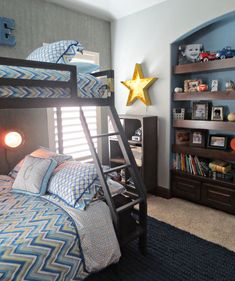 Cade is almost 8 years old, and with friends spending the night more frequently AND a brand new collection from Caden Lane,I thought it was the perfect time to update his room with metal bunks and chevron decor!