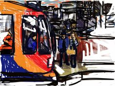 Craig Longmuir, iPad drawing, 'Tram Stop at Hallam University', en plein air.