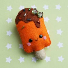 Orange Popsicle Felt Brooch by hannahdoodle on Etsy, $10.00