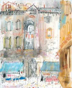 Calle De La Pescaria Venice by Clare Caulfield  This signed print is a reproduction taken from one of my Venice paintings. I produced the original painting using watercolour and pencil. Signed and titled Calle De La Pescaria, Venice by myself in pencil on the front of the print just underneath the image. • Image dimensions 19 x 23 cm (7.4 x 9) • Paper measures approx 21 x 27 cm (8.2 x 10.6)  • Printed on 190gsm Bockingford Watercolour Inkjet matt white paper using Canon inks  • Open edition…