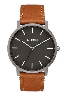 Nixon Porter Leather, Gunmetal / Charcoal / Taupe