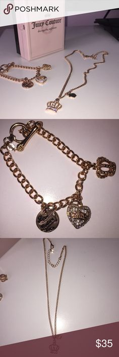 Juicy Couture rose gold bracelet and necklace set Juicy Couture rose gold charm bracelet and rose gold crown necklace. Selling as a set...both super cute! The jewelry didn't turn, everything's in great condition. :) Juicy Couture Jewelry