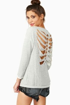 Back of shirt cut like ribs and spine