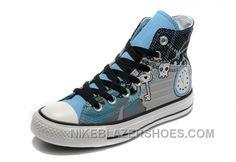 f48a7330b0ccb5 Key Skull Clock Print Blue CONVERSE High S Punk Collection Pirate Pattern Canvas  Shoes Top Deals BEkKe