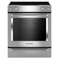 KitchenAid 30 in. 6.4 cu. ft. Slide-In Electric Range with Self-Cleaning Convection Oven in Stainless Steel KSEG700ESS at The Home Depot - Mobile