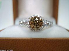 1.25 Carat 14K White Gold Champagne & White Diamond Halo Engagement Ring  HandMade on Etsy, $2,200.00
