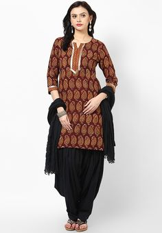Cotton Brown Kurti With Black Patiala Salwar And Dupatta 28% OFF