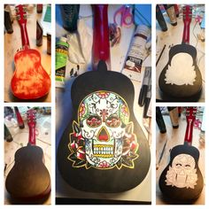 Day of the dead inspired acrylic painting on the back of red ukulele