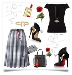 """""""Mix and match outfit"""" by rousou on Polyvore featuring Thom Browne, People Tree, Christian Louboutin, Max Factor, Loren Stewart, Balenciaga and Sydney Evan"""