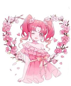 66 Ideas For Flowers Drawing Pink Loli Kawaii, Kawaii Art, Kawaii Anime Girl, Anime Art Girl, Manga Art, Manga Anime, Anime Girls, Pretty Anime Girl, Beautiful Anime Girl