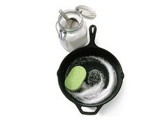 good to know: Tips and Tricks To clean a cast iron skillet, toss about cup coarse salt into the pan and rub with a soft sponge. The salt removes excess oils and takes off the bits of food without messing with the seasoning of the pan. Diy Cleaning Products, Cleaning Solutions, Cleaning Hacks, Iron Cleaning, Deep Cleaning, Cleaning Recipes, Cleaning Supplies, Camping Info, Camping Ideas