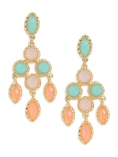 If you're a girl with a sweet side, then you'll love these dazzling chandelier earrings. While the silhouette is grand, the gems are cast in charming pale pastel colors.