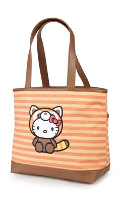 Hello Kitty is dressed as an adorable red panda on this supercute, not to mention convenient, shoulder tote bag. The super adorable lining features all the animals in this Wildlife collection along with one slip pocket and one zipper pocket to hold all your accessories. Stylish and fun!
