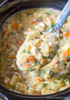 Healthy Slow Cooker Chicken Potato Soup - A light and hearty potato soup recipe with chunk of chicken breast and lots of vegetables.