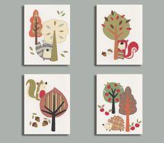 Nursery Art -Woodland Nursery Decor - Baby Boy Wall Art - Squirrel - hedgehog - Raccoon - Beaver - Set of 4 inch Prints Woodland Baby Nursery, Owl Nursery Decor, Baby Wall Decor, Nursery Themes, Nursery Art, Woodland Bedroom, Woodland Art, Woodland Theme, Nursery Ideas