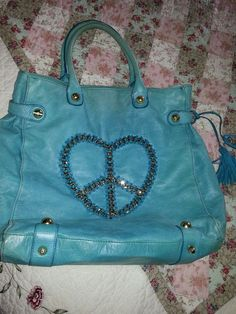 BETSEY JOHNSON Turquoise Leather  Tote Shoulder Bag extra large chain Peace sign #BetseyJohnson #TotesShoppers