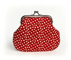 Red Purse Polka Dot Wallet with Kisslock by VasilinkaStore on Etsy, $26.00
