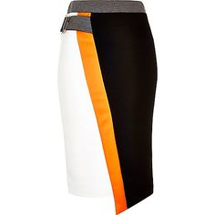 Black color block D-ring pencil skirt