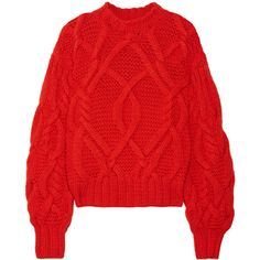Ulla JohnsonPilar Cable-knit Wool Sweater (£850) ❤ liked on Polyvore featuring tops, sweaters, blouses, crimson, red polka dot top, loose cable knit sweater, wool knit sweater, cable-knit sweater and polka dot sweater