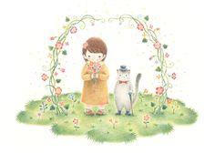 """Kaya and Wizard Cat's Tamaro, Fluttering Petals Arch"" −RiLi, picture book, illustration, design ___ ""カヤと魔法猫タマロ、花舞うアーチ"" −リリ, 絵本, イラスト, デザイン ...... #illustration #girl #cat #イラスト #女の子 #猫"