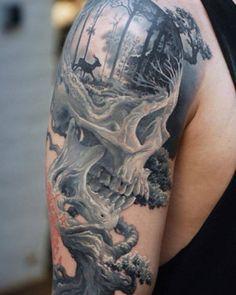Tattoo deer skull forest 3D - http://tattootodesign.com/tattoo-deer-skull-forest-3d/   #Tattoo, #Tattooed, #Tattoos