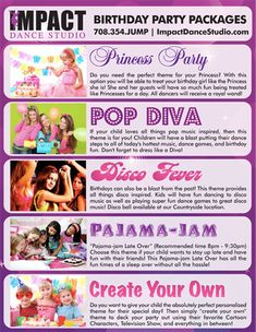 Dance Studio Parties for Kids, Dance Parties, Kids Dance Parties, Kids Parties, Birthday Dance Party