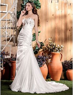 Trumpet/Mermaid Sweetheart Court Train Taffeta Wedding Dress (604666) - USD $ 176.99